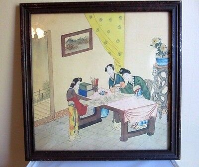 18 x 18 Antique 1940's , Asian print featuring Chinese ladies painting