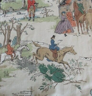 Antique Vintage Rare Sanderson Hunting Scene Fabric Cushion Panel