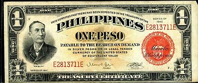 Wonderful 1941 Philippines Treasury Certificate One Peso Note Ei567
