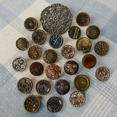Assortment of 26 Vintage and Victorian Metal Buttons