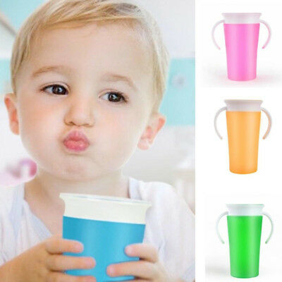 Fj- Leak-Proof Baby Kids Toddler Learning Drinking Water Cup Bottle 2 Handle Sup