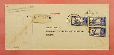 1940 Bahrain India Overprints Registered To Us Consulate In Iraq Wwii Censored