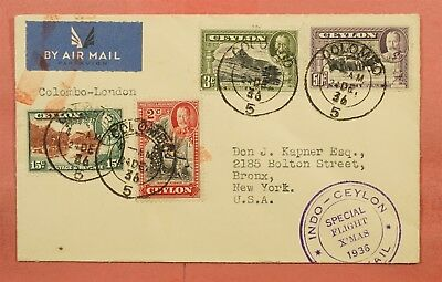 1936 Ceylon Special Christmas First Flight Colombo To London England