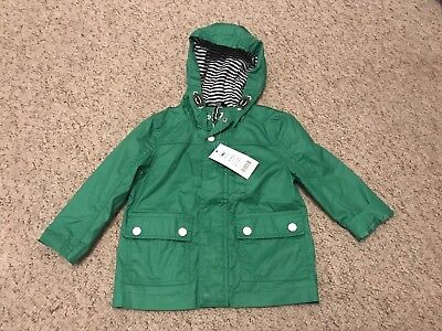Baby Boys George Green Rain Coat Jacket & Striped Lining Age 12-18 Months BNWT
