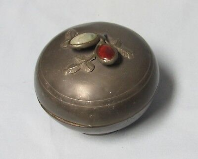 Antique Chinese Pewter Dish with Jade and Carnelian on Lidded Trinket Box Round