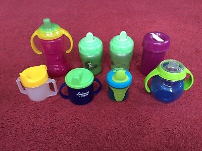 Massive bundle of 8 baby toddler sippy cups mugs beakers various sizes makes