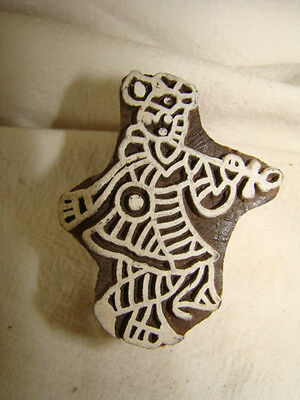 Wooden Indian Printing Craft Block, Stamp,  Musician, Handcarved, New, Unused