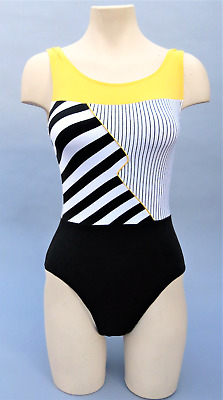 Vtg 80s Yellow Black Leotard Aerobic Color Block Bodysuit Striped Dance S/M