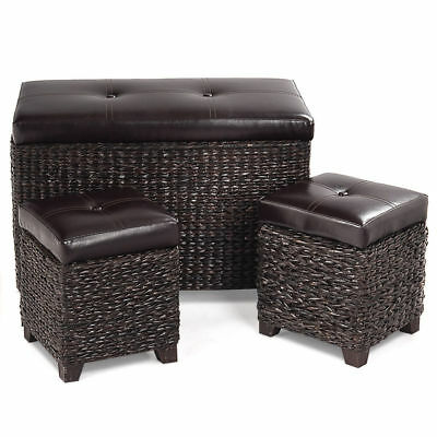 3 PC Rattan Leather Foot Rest Stool Hassock Storage Ottoman Seat Chair Chest Top