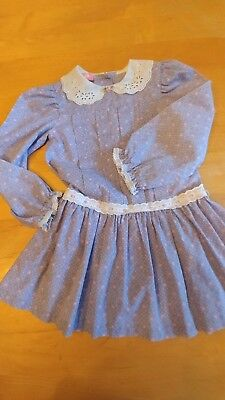 Vintage Girls Floral Dress Lace Collar Lavender Pink 4 Toddler