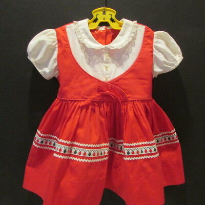 True Vintage Baby Toddler Dress 1950's Red w Rick Rack full skirt 18 Mos Cute
