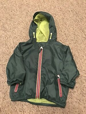 Baby Boys Next Green Rain Coat /Jacket With Yellow Lining Age 9-12 Months Vgc