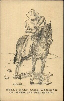Cowboy on Horse Hell's Half Acre Wyoming - Earle Parker Postcard