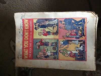 D.c.thomson Hotspur Comic Booklet What You Don't Know 1936