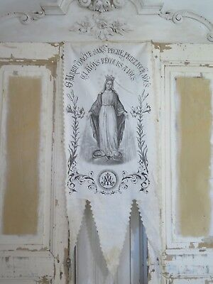 PARIS 1800s Antique religious BANNER Marie Madonna KRONE french SHABBY