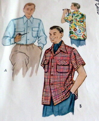 VTG 1950s MENS SHIRT Sewing Pattern LARGE CHEST 42-44