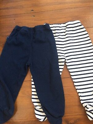 JoJo Maman Bebe 6-12 months Boy cotton Trousers crawlers stripe/navy footed
