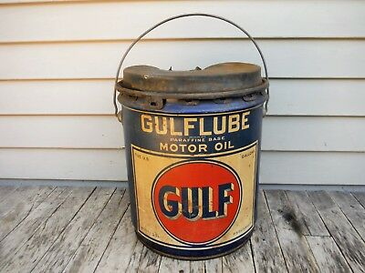 Vintage 5 Gallon Gulf Oil Co. Gulflube Motor Oil Can Early! Awesome Nr!
