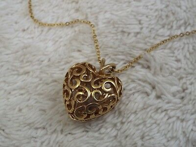 Goldtone Filigree Puffed Heart Pendant Necklace (D9)