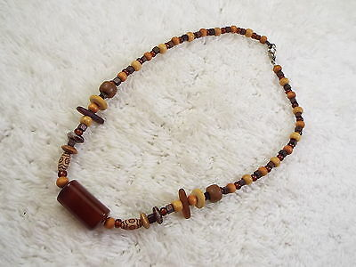 Stone Focal Wood & Glass Bead Necklace  (C46)