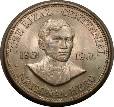 1961 Silver peso of Philippines JOSE RIZAL Choice BU