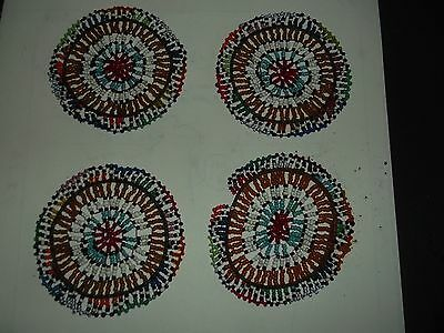 Hand Crafted Beaded Coaster Set Of 4 Vintage Africa