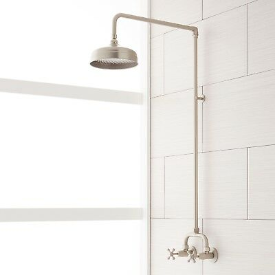 exposed pipe shower . Baudette Exposed Pipe Wall Mount Shower With Rainfall Head BAUDETTE EXPOSED PIPE