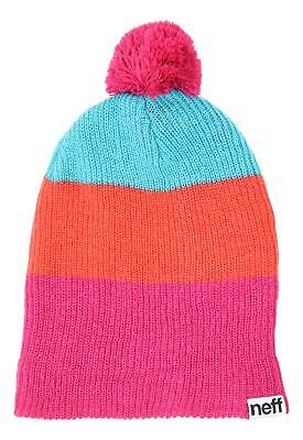 2359a5fcbb4 NEW NEFF WOMENS Daily Sparkle Stripe Beanie Coral -  14.36