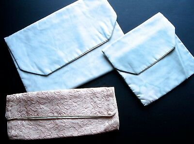 Vintage Lingerie Hosiery Travel Envelope Bags Pouches Satin Lot of 3 Pink Blue