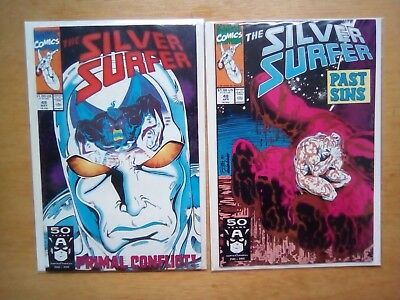 Silver Surfer 2 Issues #48,49 Galactus & Thanos Vol.3 Marvel Comics 1991 Both Fn