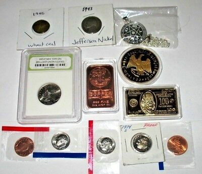 JUNK DRAWER LOT: USA CENTS, DIMES,TOKENS & MORE! (37c)