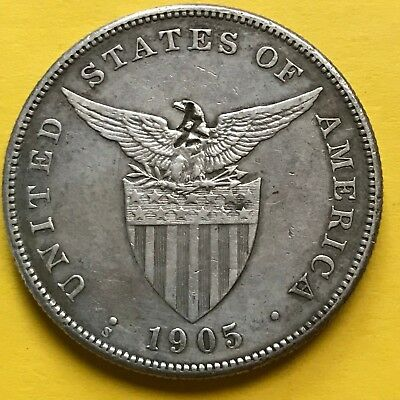 Us Philippines One Peso 1905-S With Chop Mark Scarce Date #269