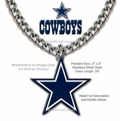 Large Dallas Cowboys Necklace - Stainless Steel Chain Nfl Football - Free Ship'