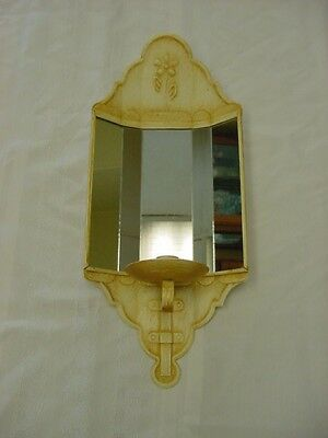 5 PANEL MIRROR METAL WALL SCONCE CANDLE HOLDER Homco Home Interior