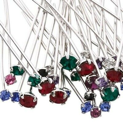 48 Rhodium Plated Brass Headpins with Swarovski Crystals / Mix of Colors `