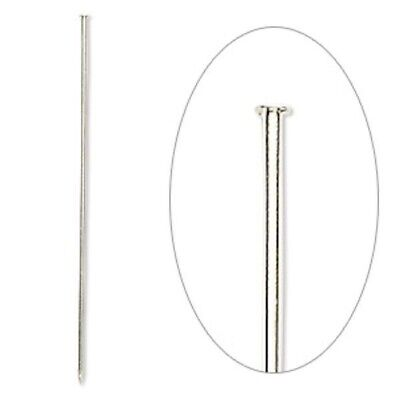 100 Silver Plated Brass 3 Inch 18 Gauge Hat Stick Pins with Clutches