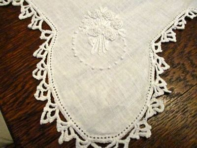 Vintage Crocheted Lace & Linen Buffet Mantle Runner Dresser Scarf  Embroidery