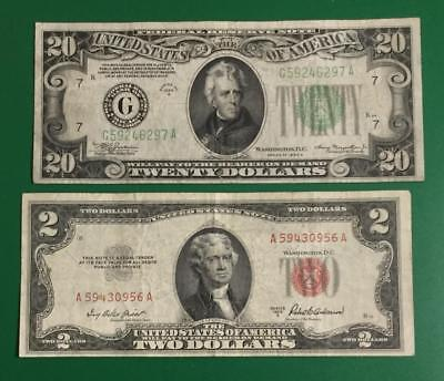 """1934A $20 Green Federal """"BIG G"""" Chicago FINE X297 & 1953A $2 RED US Deuces! FINE"""