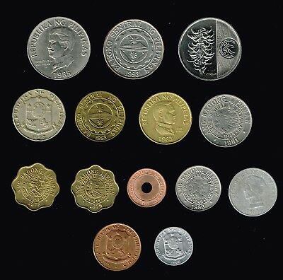 PHILIPPINES:- 14 different post WW2 - present  Circulation,  coins. AP7019