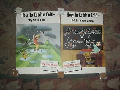 """Disney """" How To Catch a Cold""""  1951  Set of 6 Posters"""