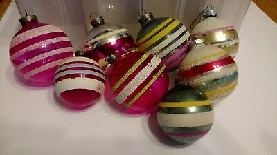 Lot of (8) Vintage Striped Glass Christmas Ornaments Shiny Brite and Made in USA