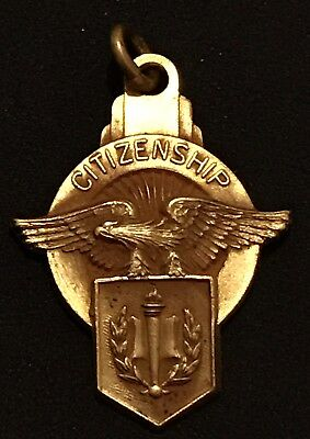 Vintage Gold Citizenship Pendant Necklace Estate Antique Josten's American Eagle