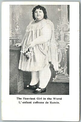 Russian Heaviest Girl In The World Antique Postcard