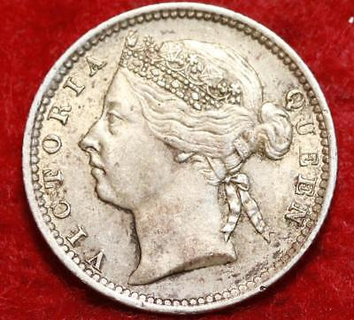 1901 Straits Settlements 10 Cents Silver Foreign Coin
