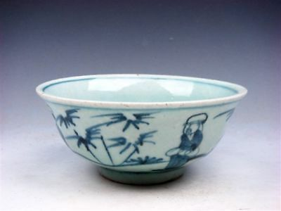 Antique MING Blue&White Ancient Figs Bamboo Hand Painted Large Bowl #08271803R