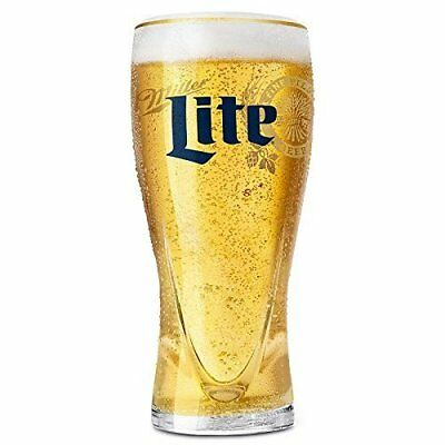 """Miller Lite Throwback logo """"Signature"""" Gold Trim Pint Beer Glass 16 oz by Libbey"""