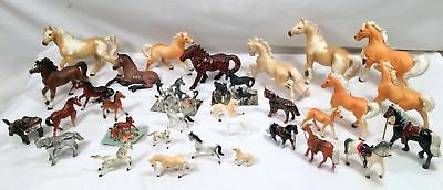 Lot of 32 Miniature Horses Different Sizes and Breeds Wood Metal Porclean