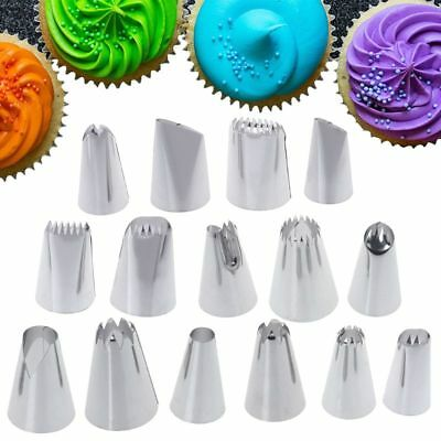 15 Pcs Stainless Steel Cream Piping Nozzle Pastry Tips DIY Cake Decoration Tools