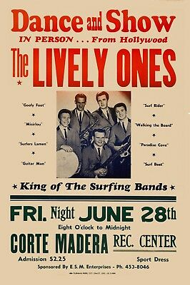 Surf: The Lively Ones at Hollywood Rare Concert Poster 1963 13x19