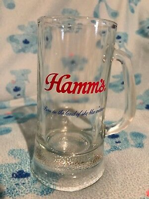 Vintage Hamm's Glass Beer Mug Heavy Bottom Born In The Land Of Sky Blue Waters